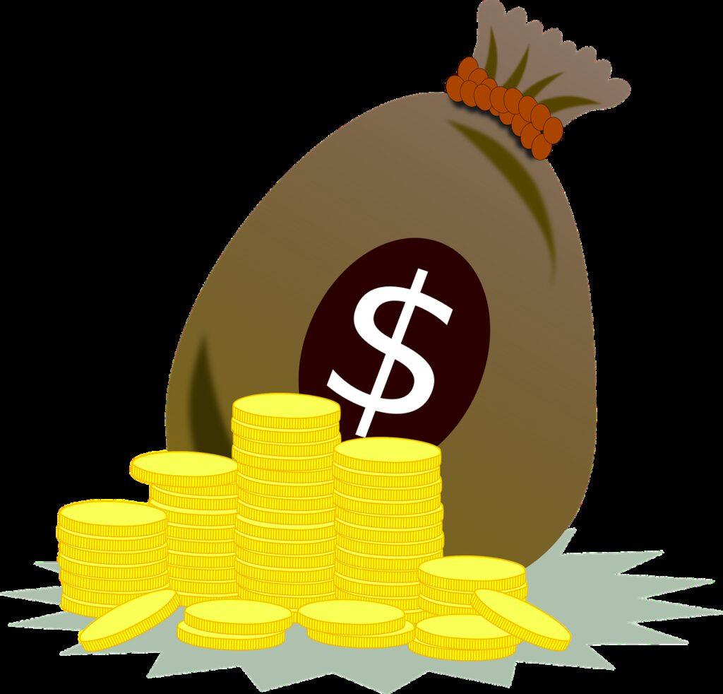 coins, money bag, fortune